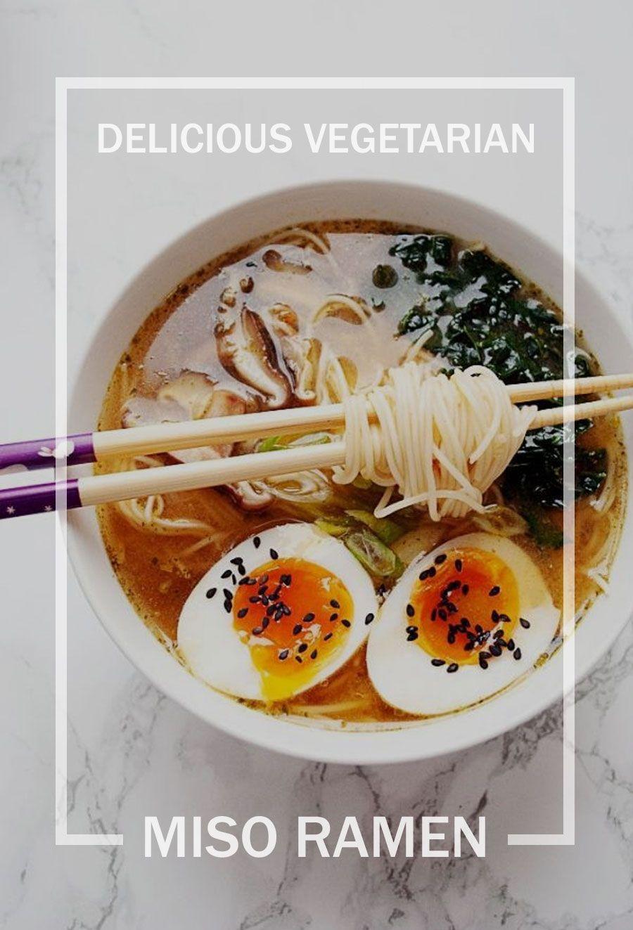 This easy vegetarian miso ramen bowl is perfect for easy weeknight dinners #weeknightdinners