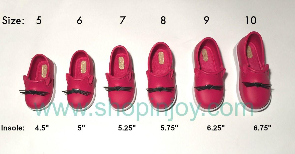 Mini Melissa IT Loafer Size Chart