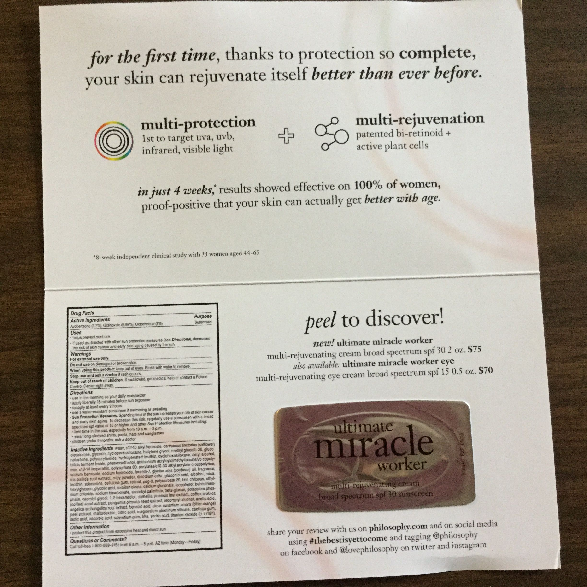 Free Ultimate Miracle Worker Multi Rejuvenating Cream From Philosophy Philosophy Visible Light Worker