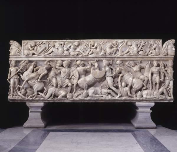 Sarcofago Con Scena Di Battaglia Tra Amazzoni E Greci L