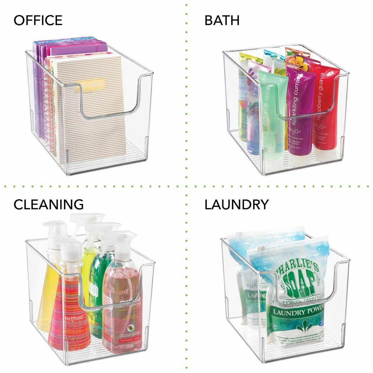 Wide Plastic Bathroom Vanity Storage Organizer Bin 10 X 8 X 7 75 In 2020 Bathroom Vanity Storage Food Storage Organization Home Office Storage