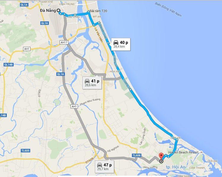 Bản đồ Đà Nẵng đi Hội An