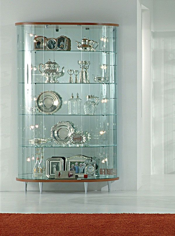 Showcases Wood Curved Glass Display Cabinet Showcases