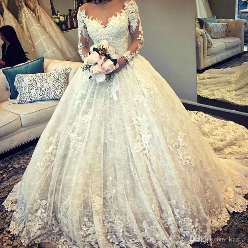 9f394dcedb54 Sheer Neck Long Sleeve Wedding Dresses 2019 Plus Size Full Lace Applique  Puffy Skirt Dubai Arabic Muslim Princess Church Wedding Gown Mermaid Wedding  Dress ...