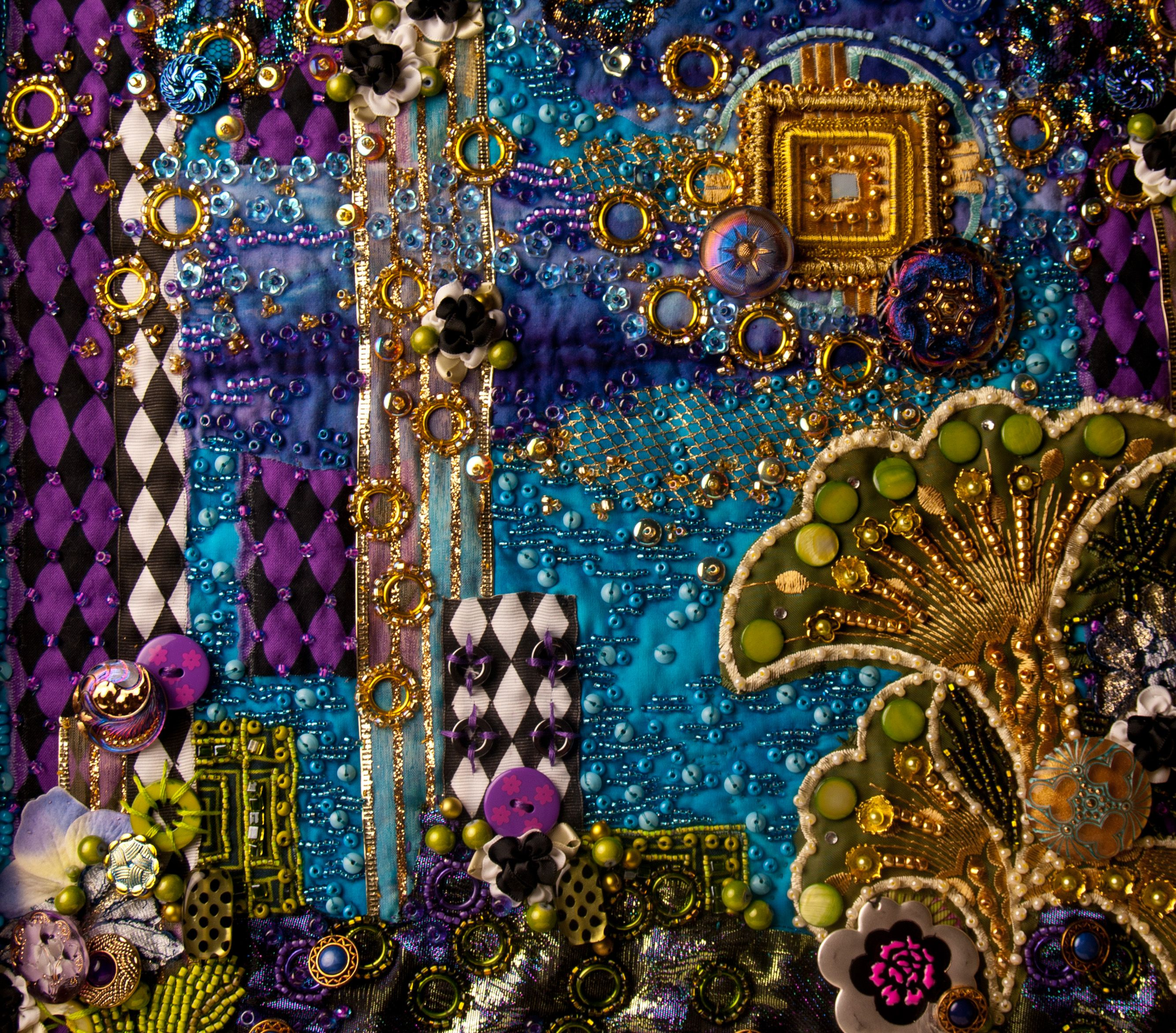 beaded quilts | Detail of contemporary beaded art quilt,