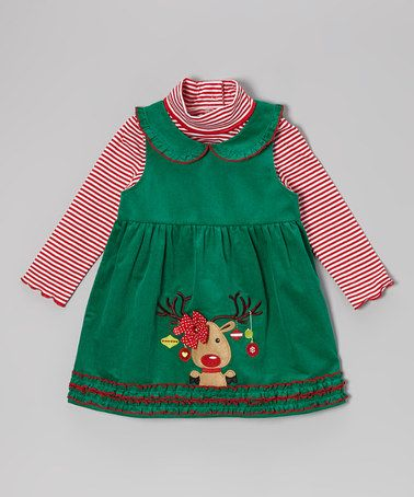 Red Stripe Top & Green Reindeer Jumper - Infant & Toddler by Samara on #zulily #baby #clothes #infant #toddler #girl #girls #dress #christmas #holiday #reindeer #applique #embroidery #quilt #quilted #thanksgiving #peterpan #peter #pan #turtleneck #longsleeve #long #sleeve #jumper #stripe #stripes #striped #peppermint #candycane #candy #cane #ornament #tree #picture #portrait #family #card #cards