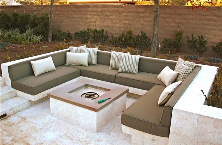 Photo of Outdoor Sectional Fire Pit Upholstered Seating