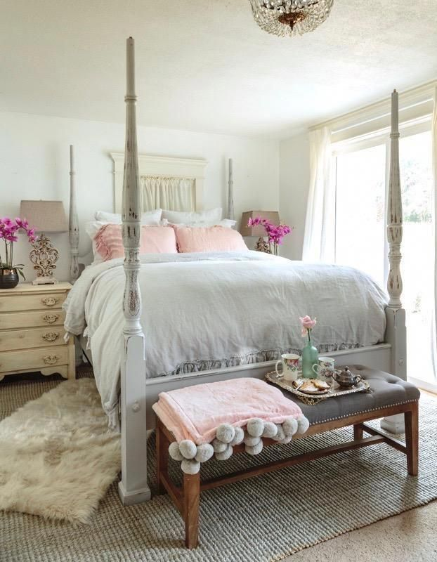 Shabby French bedroom with Chalk Painted bed frame  ...