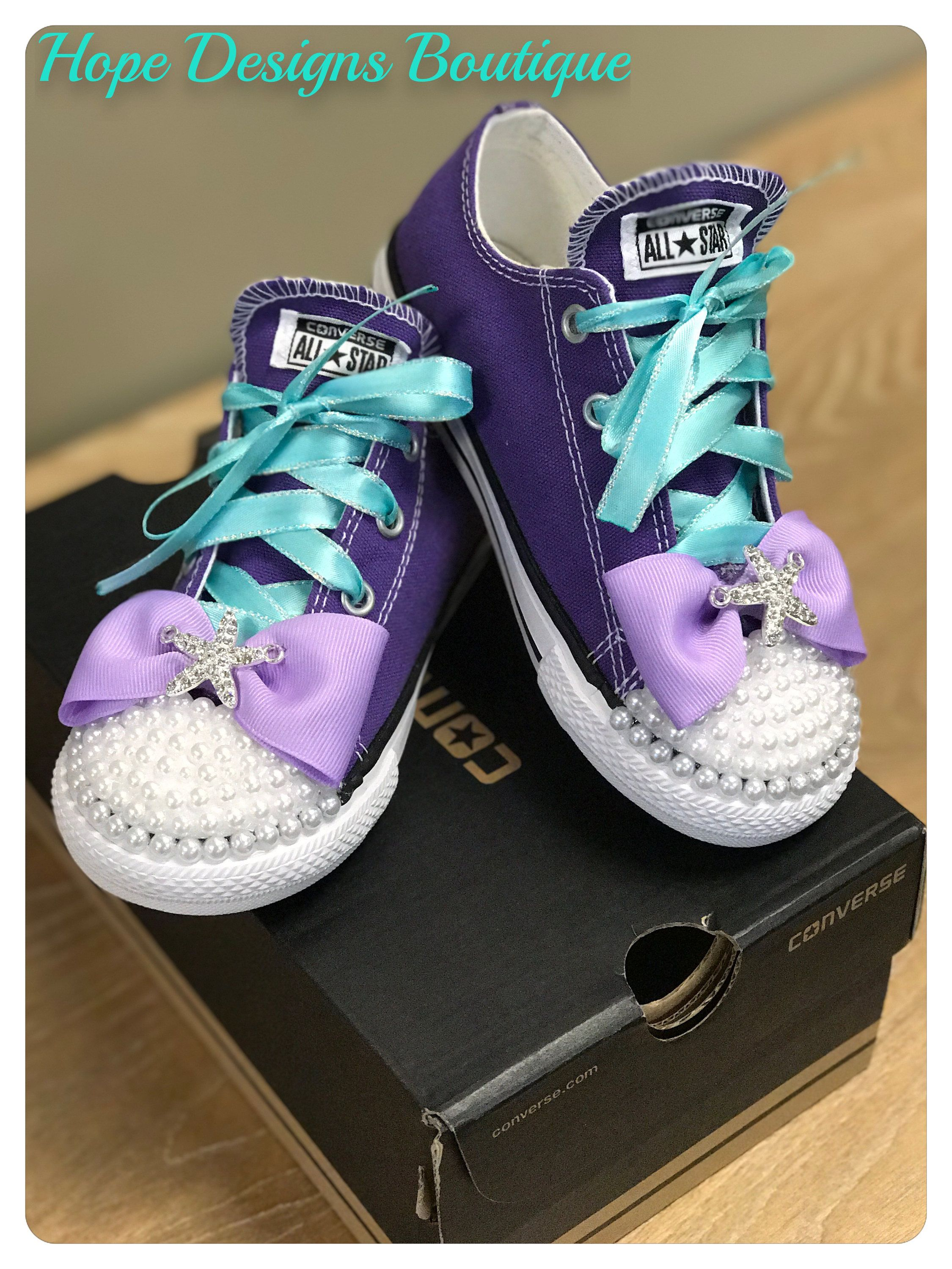 28dcd065e2d8 Little Mermaid Inspired Bling em Up-styled Converse Chuck Taylor  Allstars Electric Purple (shoes included) by HopeDesignsBoutique on Etsy