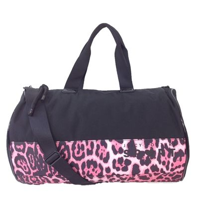 Juicy Couture Sport Duffle Gym Bag Black Pink Leopard List Price 19800