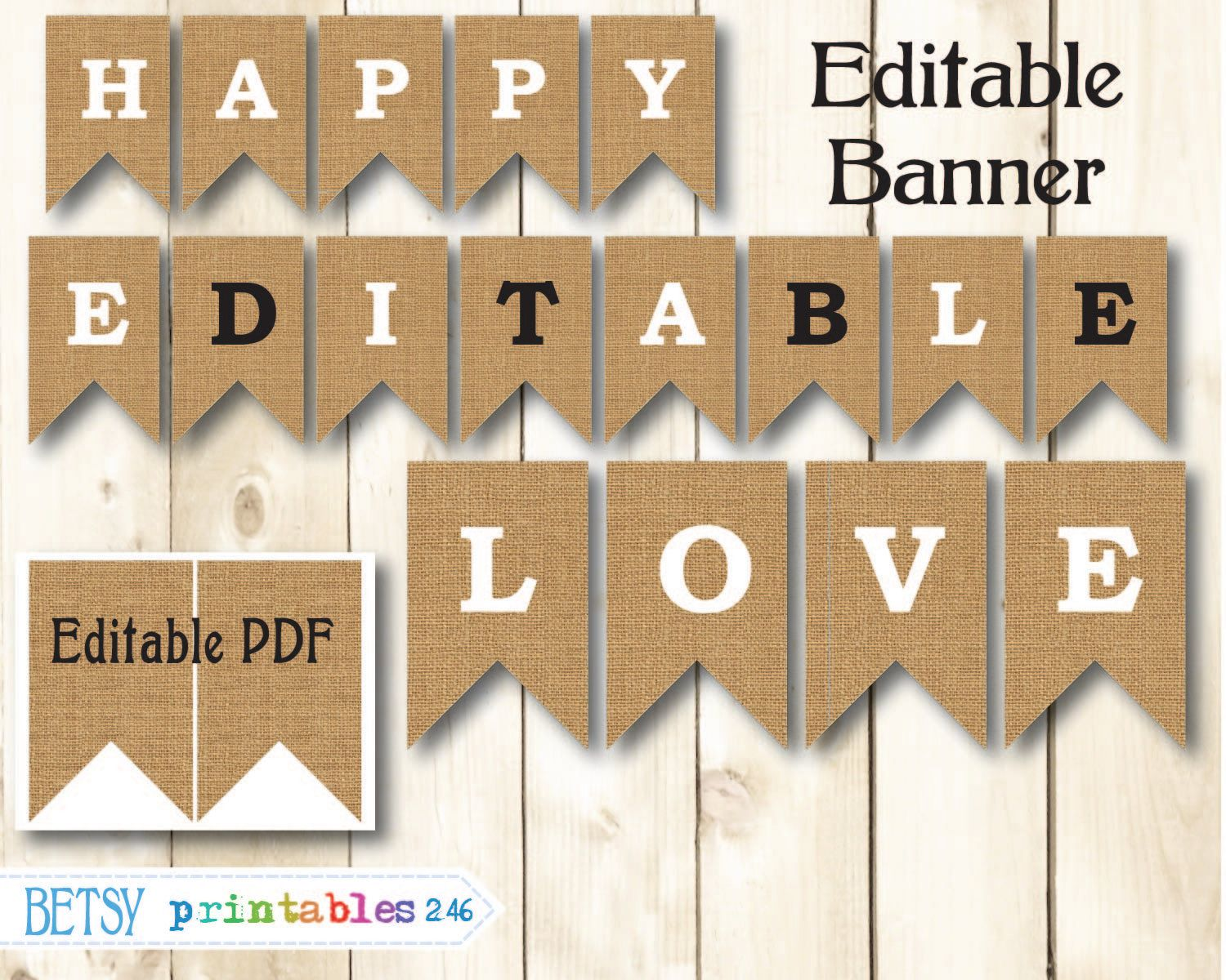 Burlap Banner Printable Editable Pennants Happy Birthday Digital