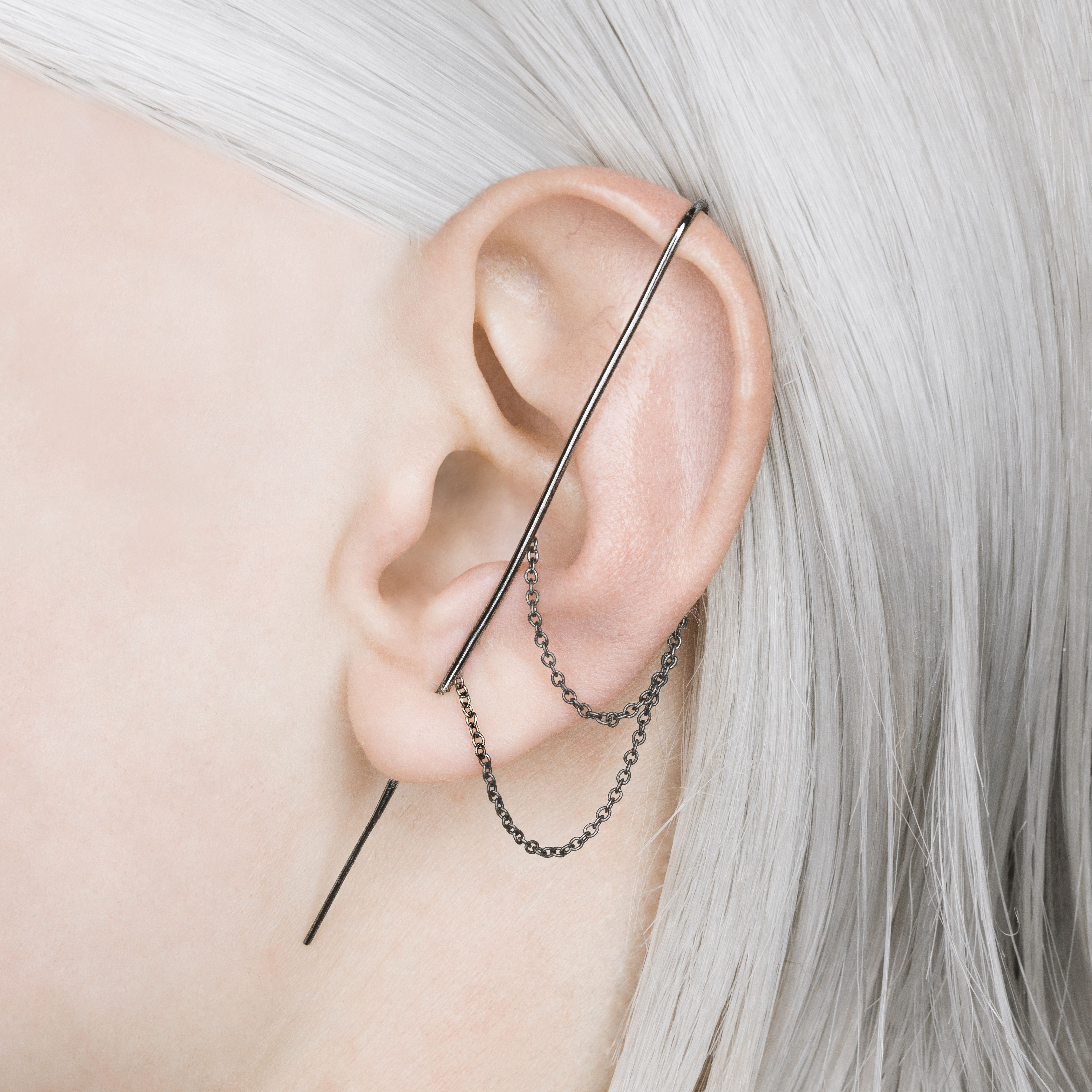 cartilage or chain cuff white zircon earring ring girl gift Minimalist 14k gold-plated silver earring