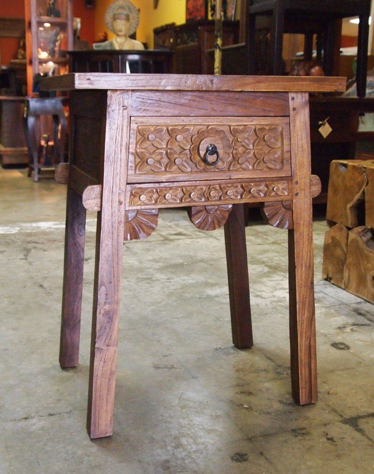 Beautifully Hand Carved Reclaimed Teak Bali Style Side Table From Gado Gado Gado Gado