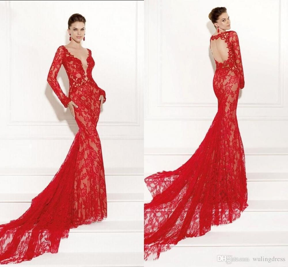 Red wedding dress mermaid formal ball evening prom gown long sleeve