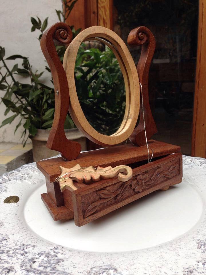 Photo of Items similar to wooden mirror and jewelry box / specchiera di legno porta gioielli on Etsy