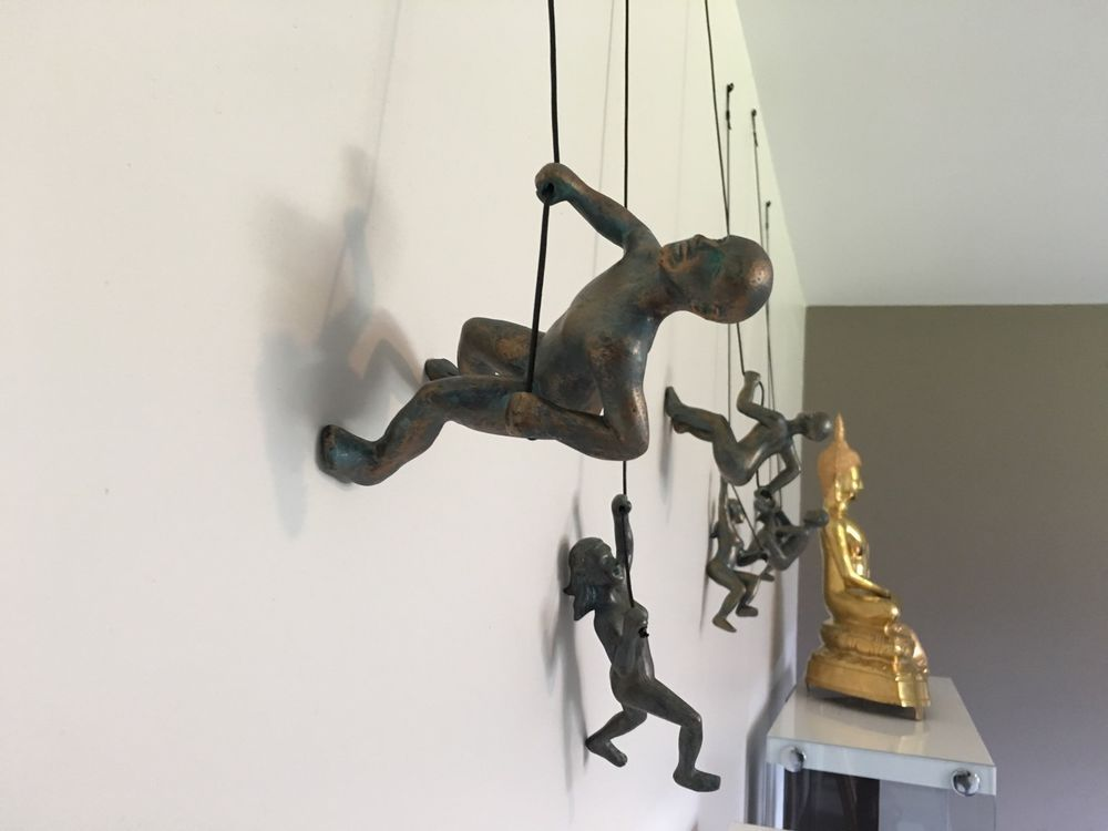 Climbing Man Wall Art Home Decor Sculpture Dimensions Are 6 H X 3 W D One Set Of Mount A Leathered Rope For