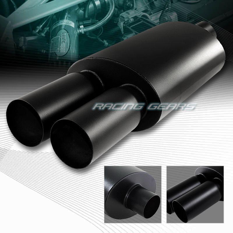 """JDM 4/"""" N1 Flat Tip T304 Carbon Fiber Wrap Exhaust Muffler 2.5/"""" Inlet Universal 1"""