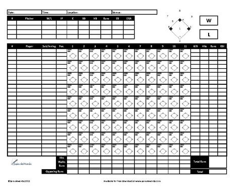 Baseball Scoresheet Free Download Baseball Scores Baseball Pitching Baseball Playoffs