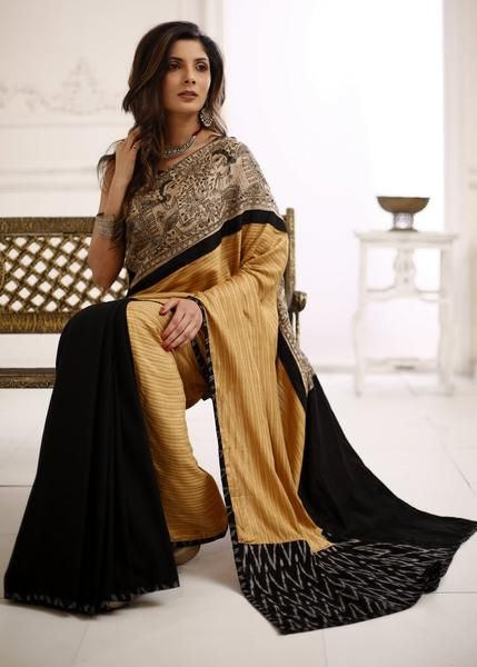 582cffa7ee Exclusive striped pure silk saree with Madhubani hand painting with black  cotton silk pleats