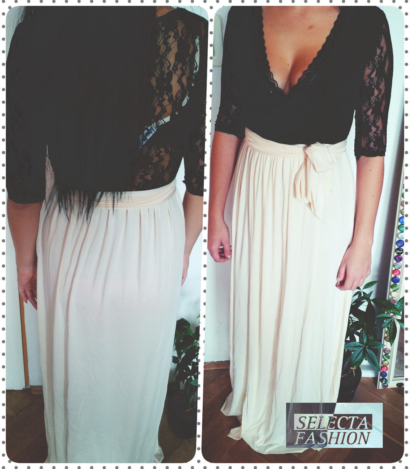 Womens lace long maxi dress by selectafashion photo shoot from