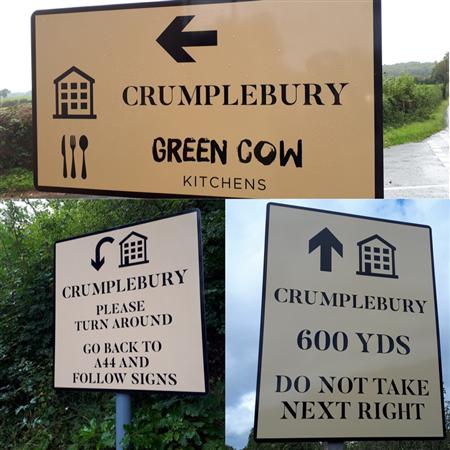 Green Cow Kitchens at Crumplebury wayfinder signs