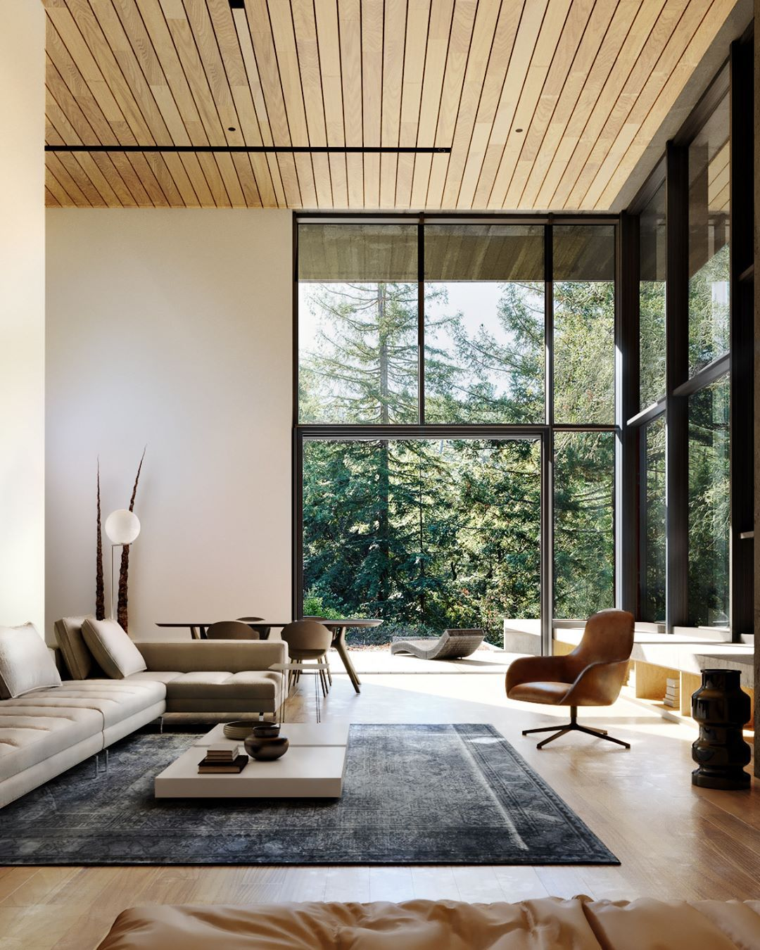 Amazing Living Room With Large Wide Windows That Allow The Roo