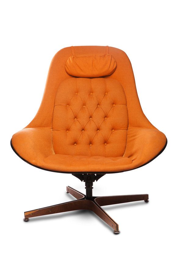 Beautiful mid-century chair with orange upholstery. Can be reupholstered and bent wood backing. Mechanics in great condition. one small crack in