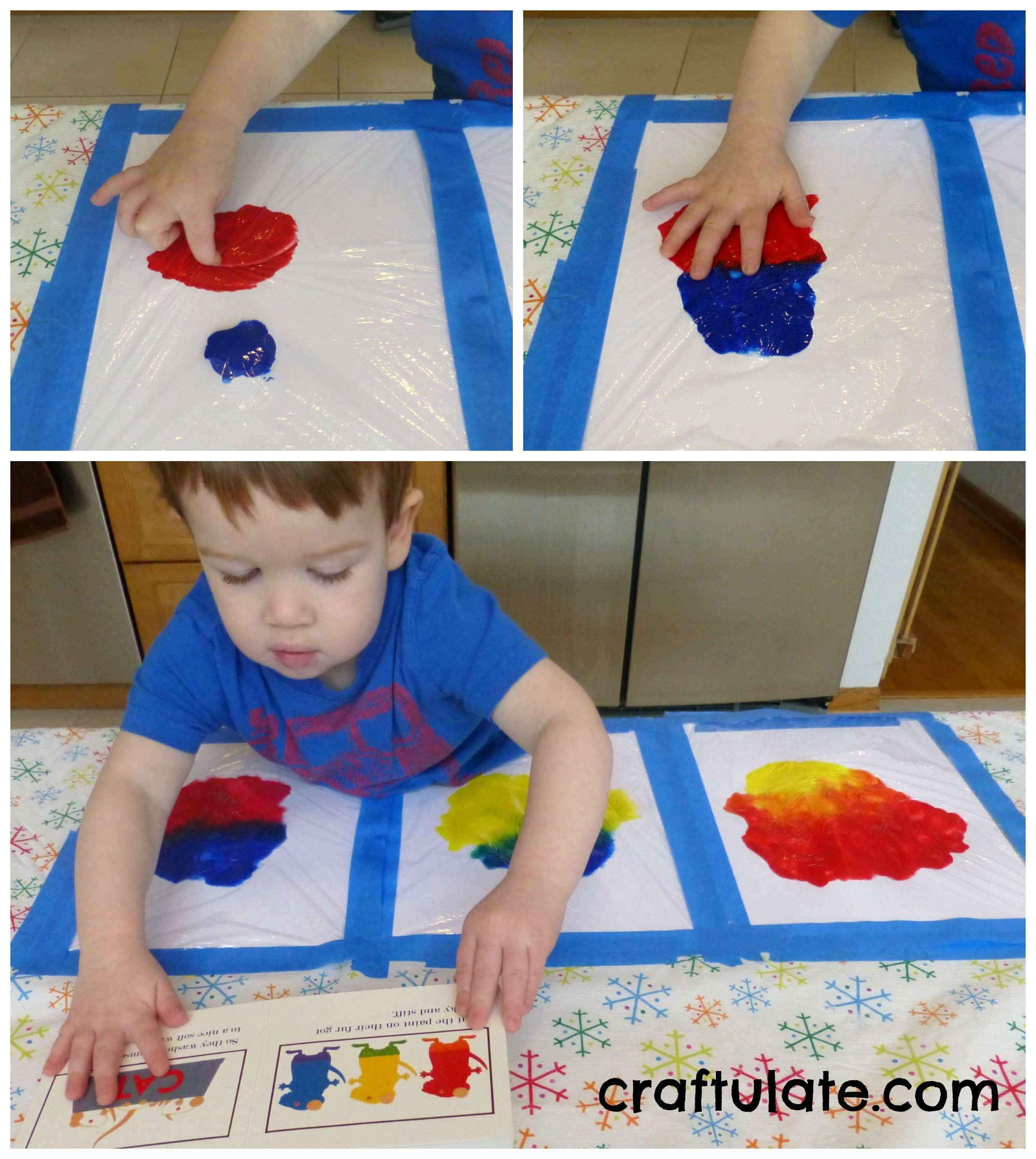 Mess Free Primary Color Mixing Painting for kids, Color