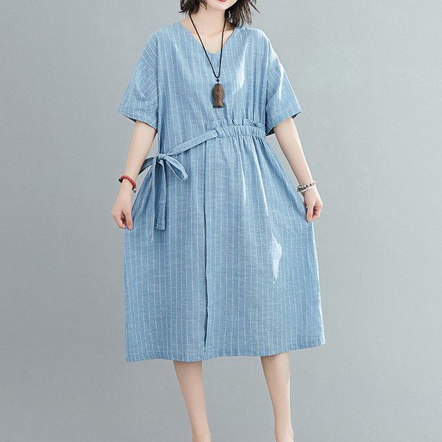 膝下ワンピース ドレス シンプル ストライプ柄 カジュアル 体型カバー 綿麻 半袖 ブルー L 2L 3L 4L ¥ 3,400
