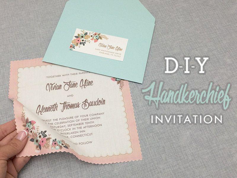 Vintage Handkerchief Wedding Invitation DIY With Download Print
