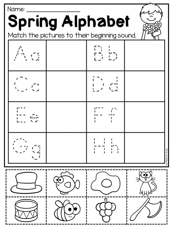 Spring Alphabet Worksheet. This Spring Kindergarten Math And Liter…  Kindergarten Phonics Worksheets, Spring Math Kindergarten, Kindergarten  Math Review Worksheets