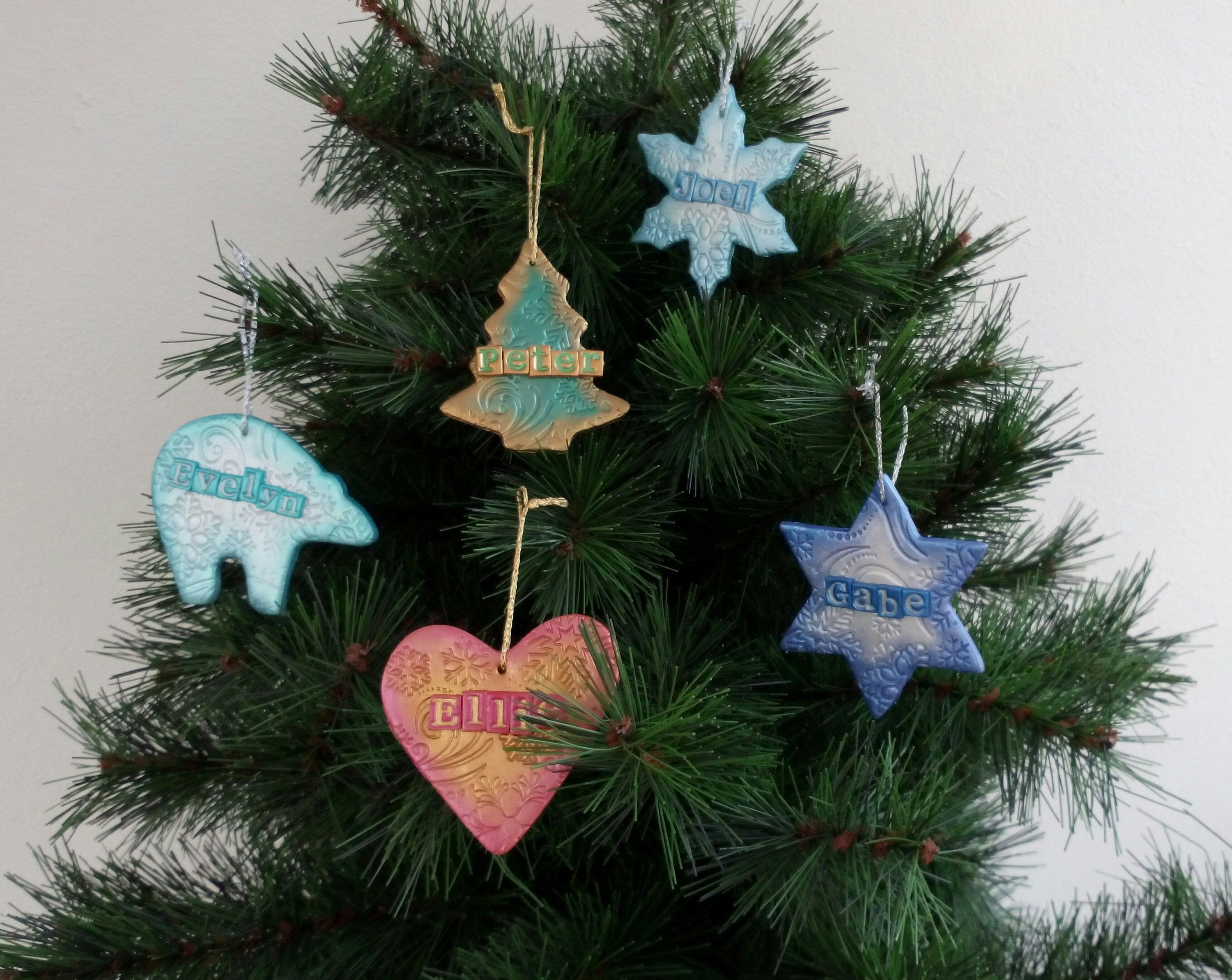 Personalised Hanging Christmas Tree Decorations Star Heart Etsy In 2020 Clay Christmas Decorations Personalised Christmas Tree Decorations Christmas Tree Decorations