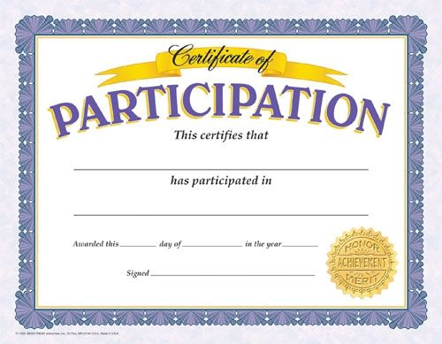 Certificate Of Participation Reward Your Students For Their Special