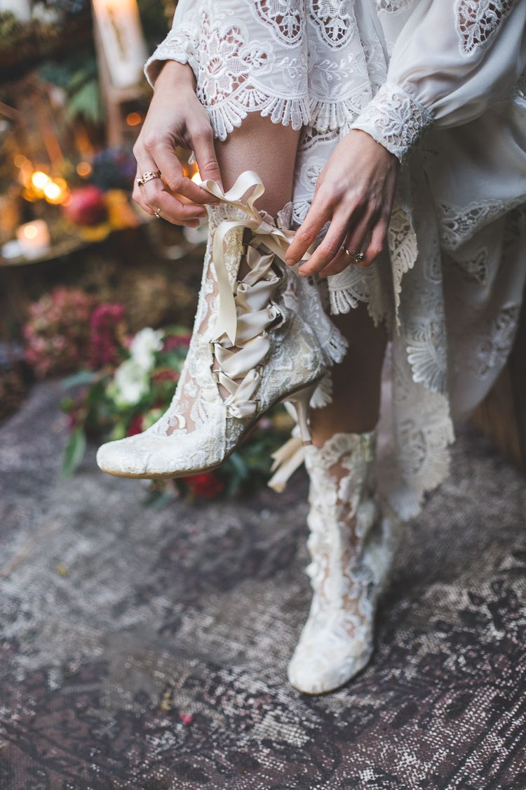 Magical Autumn Outdoorsy Woodland Wedding Ideas Lace Ankle Boots