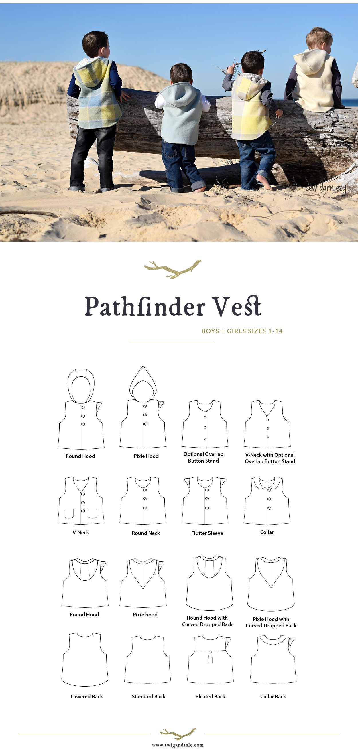 The Pathfinder Vest So Many Options Pattern From Twig And Tale Kids Vest Cute Outfits For Kids Vest Sewing Pattern
