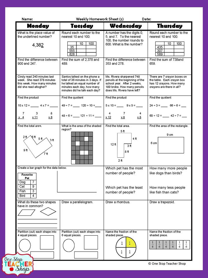 3rd Grade Math Spiral Review | 3rd Grade Math Homework or 3rd ...