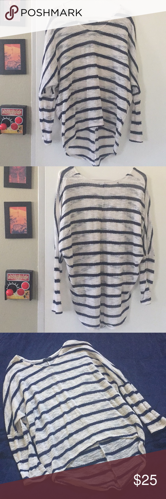 Navy and White ENTI Striped Sweater Comfy oversized ac25bcc3c