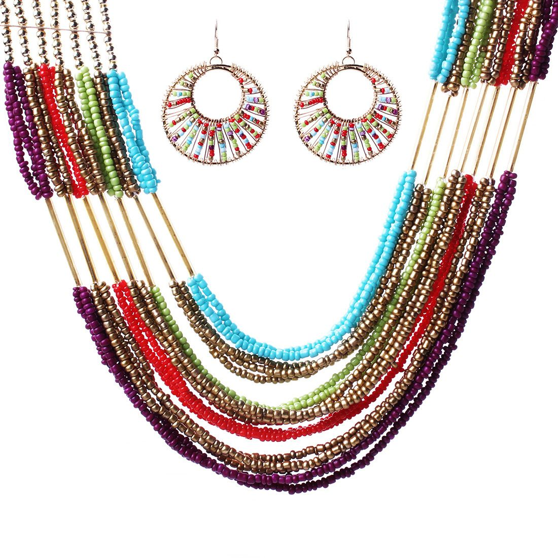 Colorful-Multi-Strand-Two-Tone-Seed-Bead-Cluster-Necklace-Eardrop-Suit