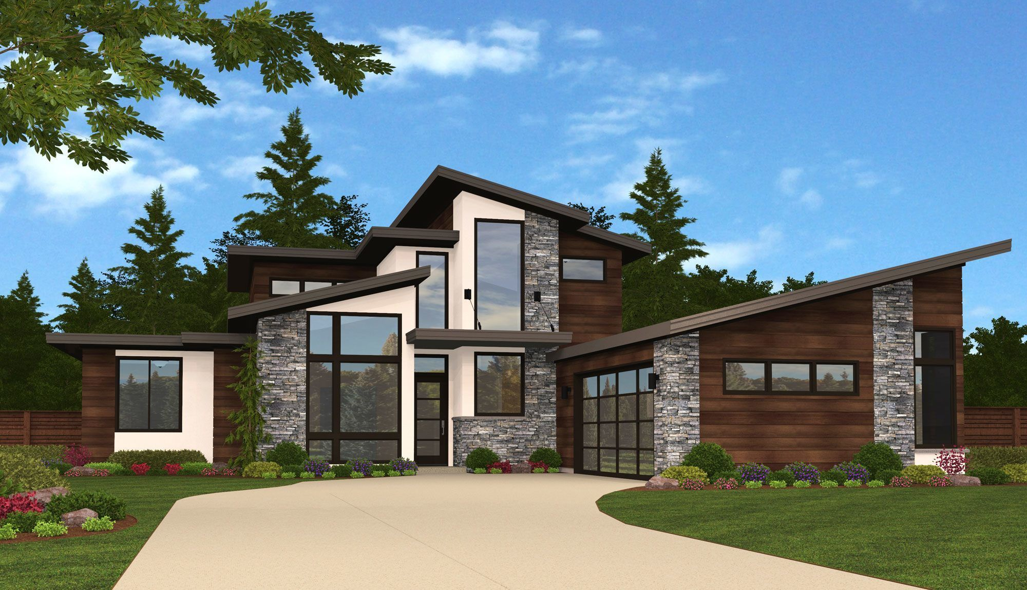 A modern l shaped plan full of happiness and light the volume of windows all around the great room insure light in the core of this home at all daylight