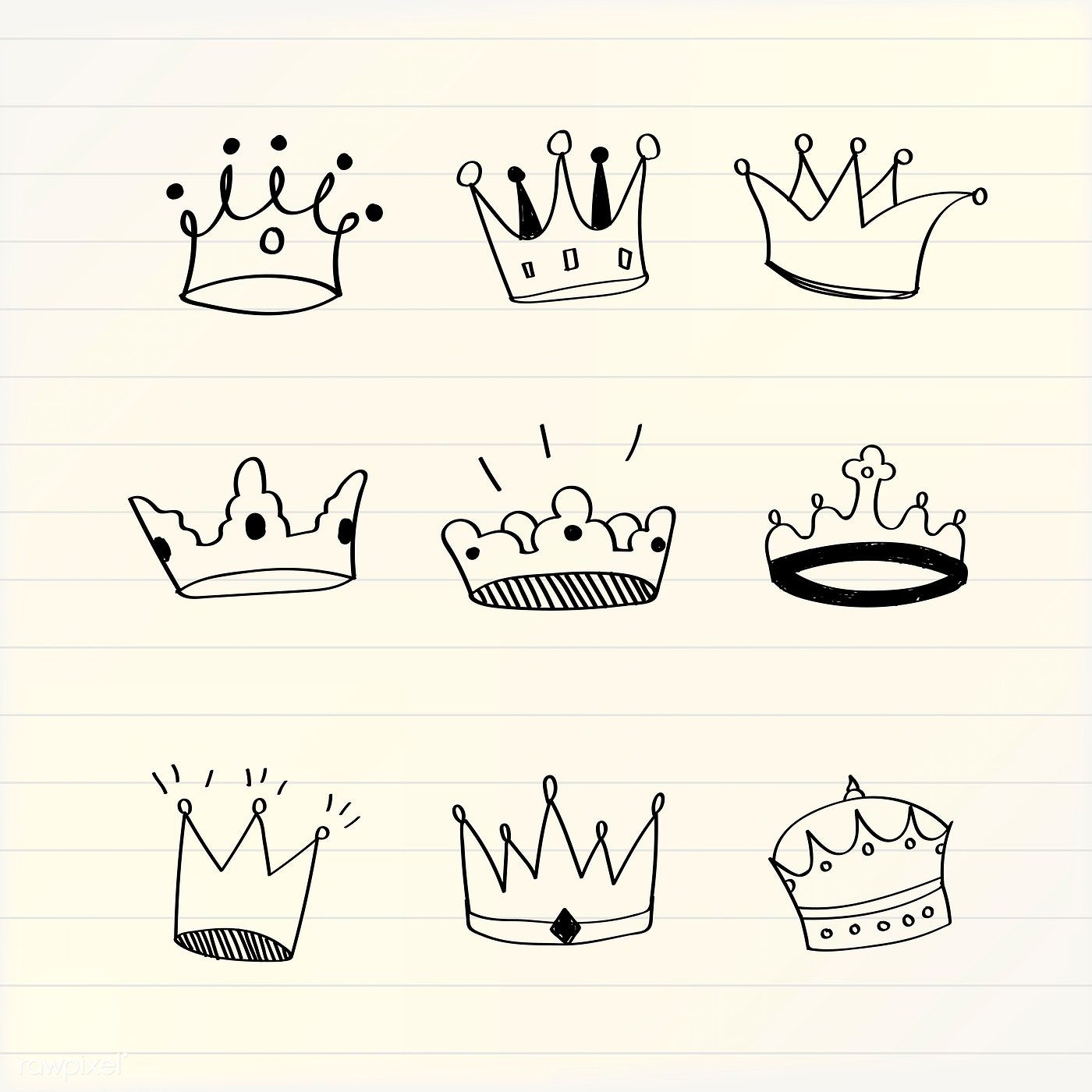 Various Crowns Doodle Illustration Vector Free Image By Rawpixel Com Filmful Doodle Illustration Cute Doodle Art Cheetah Print Tattoos