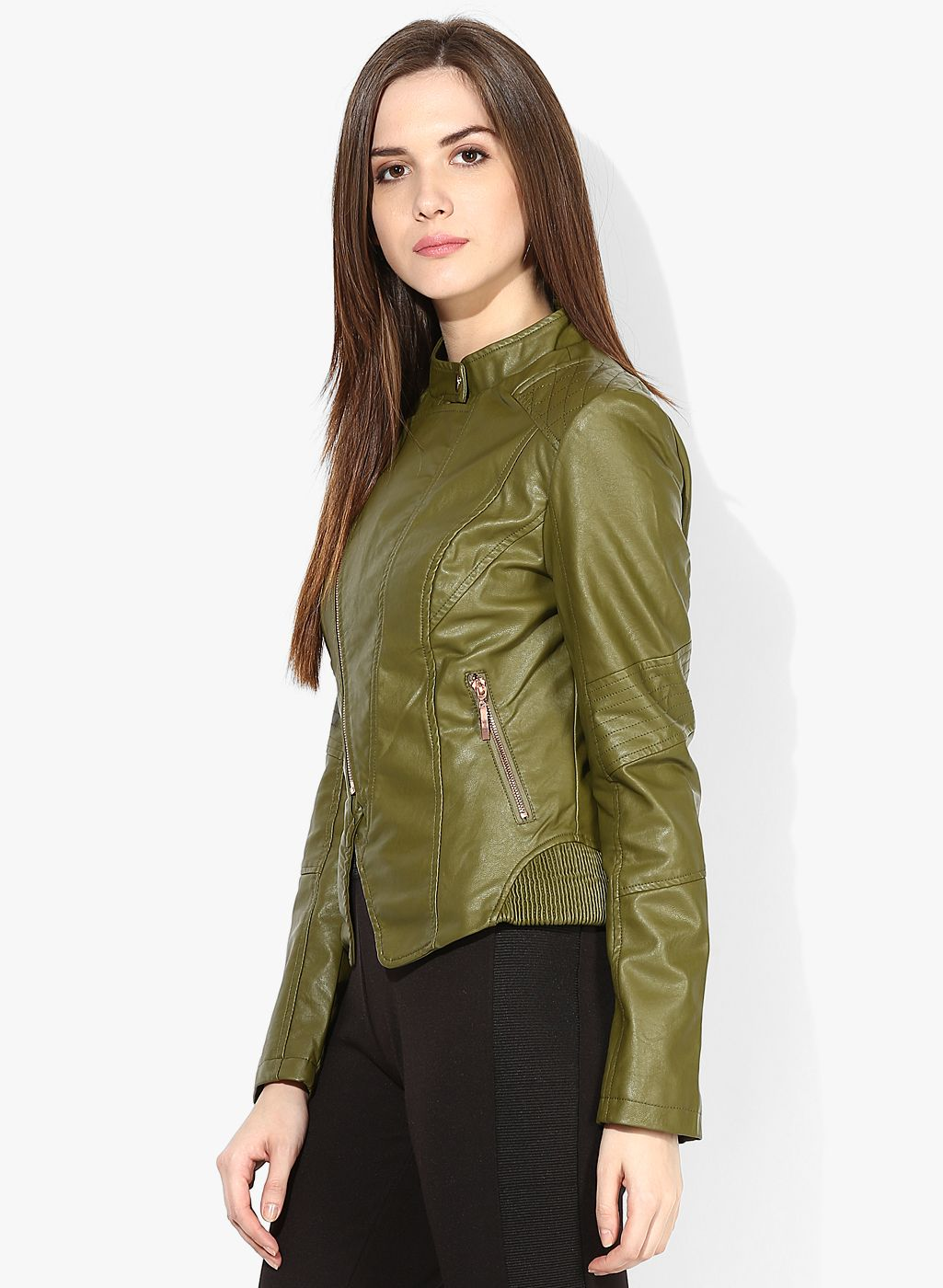 Buy Alia Bhatt For Jabong Olive Green Faux Leather Quilted Jacket ...