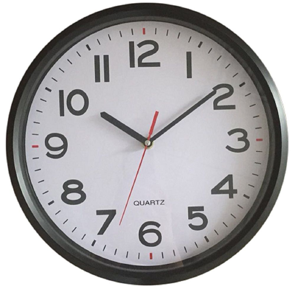 Black Round Wall Clock 12 Inch Clock Makes An Excellent Addition To Your Bathroom Black Wall Clock Wall Clock Hanging Clock