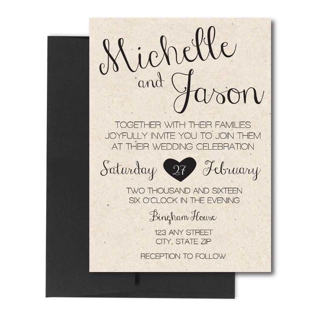 Rustic Cursive Wedding Invite. Click through to find matching games ...