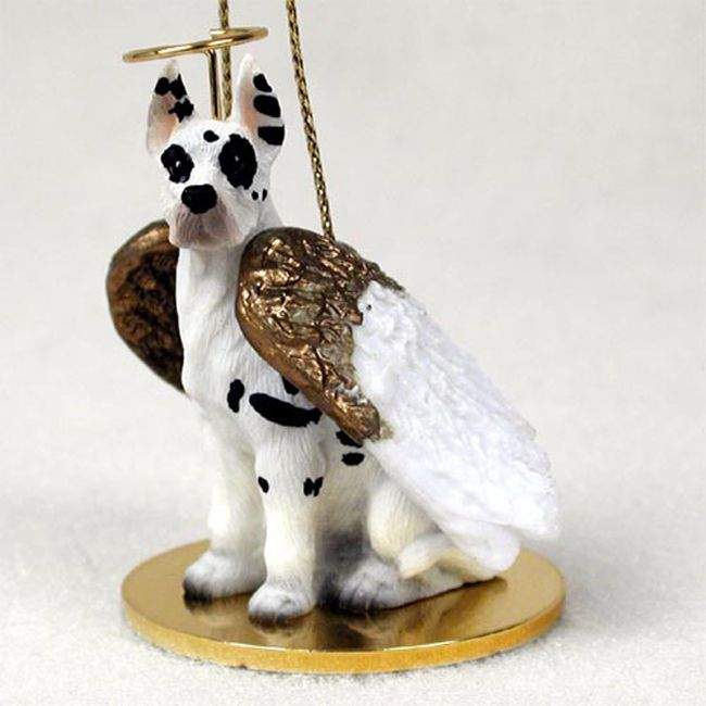 Great Dane Ornament Angel Figurine Hand Painted Harlequin Dog