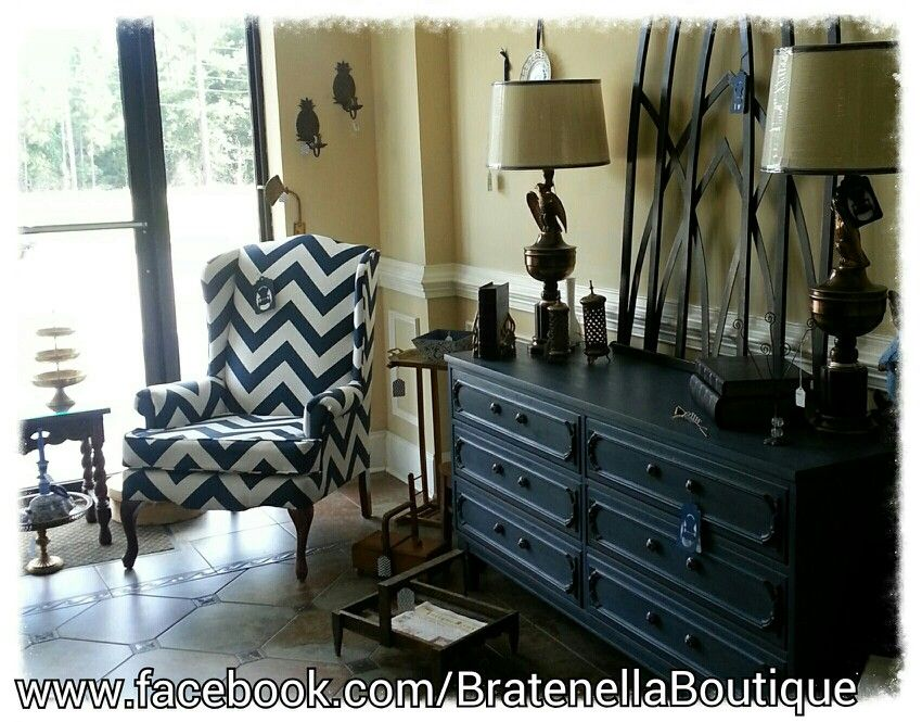 navy blue chevron wing chair navy chalk painted dresser by bratenella. Black Bedroom Furniture Sets. Home Design Ideas