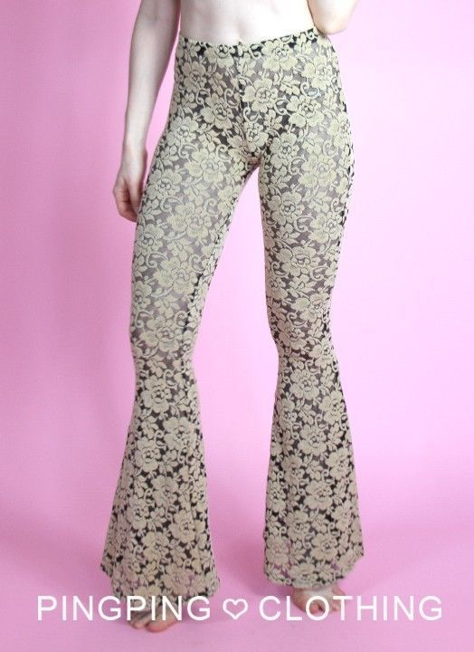 f11dd721a74c31 Lace Flower Spandex Flare Leggings Tights Pants Bell Bottom 70 s Mesh Floral