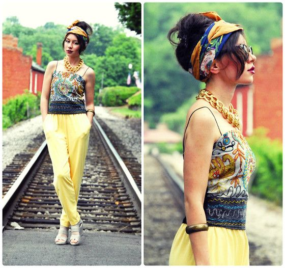 Platforms, Embroidered Top, Jersey Harem Pants, Floral Scarf, Xxl Gold Chain, Cateye Sunnies, Bangle