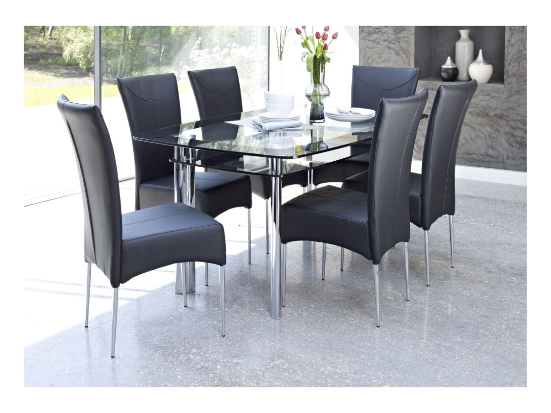 L Delightful Formal Dining Room Ideas Featuring Dual Level Clear Glass Rectangle Table With Storage And Contemporary Black Faux Leather