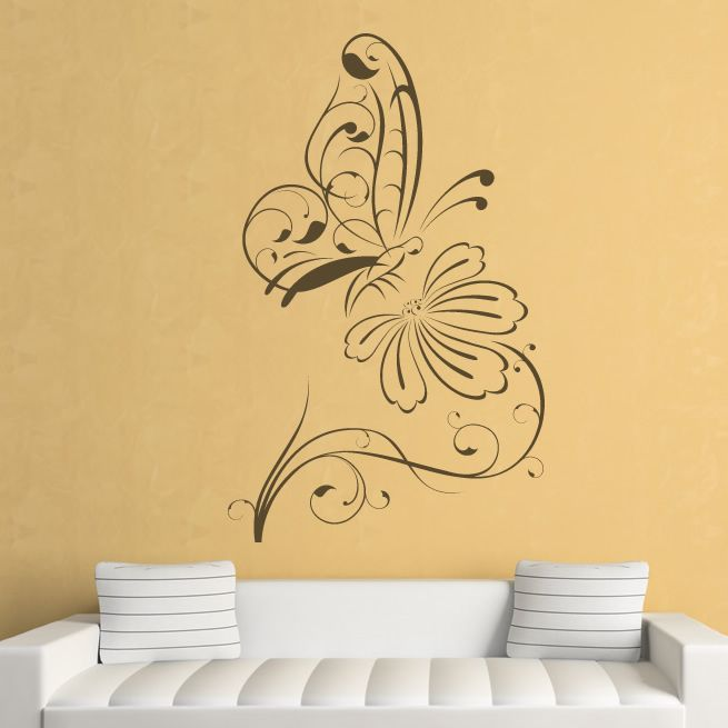 Butterfly On Flower Outline Floral Wall Decal Wall Stickers - Yellow flower wall decals