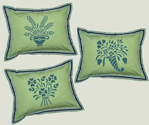 stenciled pillows using stencils from the artful stencil...